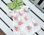 BABY GIRL'S DRESS in 100% cotton red rose floral fabric in vintage retro style ages 0-3 months 3-6 months 6-12 months - can be personalised