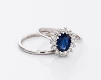 bridal set sapphire ring blue sapphire 1ct engagement ringwedding band set