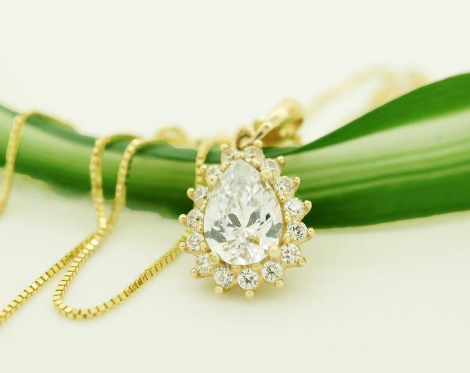 Zirconia Pendant -Yellow Gold Pendant 14K-Women Jewelry-Anniversary gift-Girls pendant-Zircon Statement- Wedding Necklace-Graduation gift