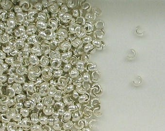 Sterling Silver 2.5mm Crimp Covers, Choice of Lot Size & Quantity