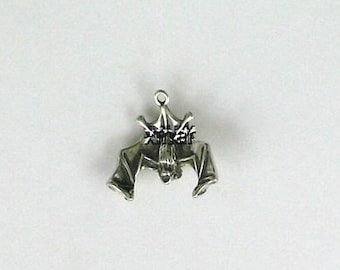 Sterling Silver 3-D Hanging Bat Charm