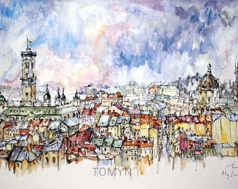 PRINT. My LVIV. PANORAMA. Ukraine painting.  Panorama City. Wall Art Lviv.