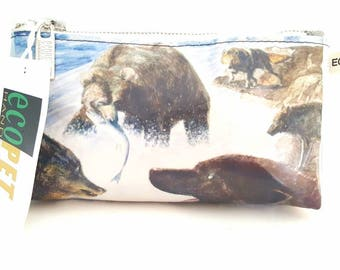 Upcycled Animal Bags, Handbags and Pouches, Recycled Bags, Recycled Dog Bag, Bears and Wolves, Wildlife Po7ches, Upcycled Bags, Wolf Bag