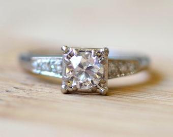 0.50 Carat Diamond Engagement Ring - Half Carat Diamond Ring - Vintage Engagement Ring - Jabel Diamond Ring - 18K White Gold Ring