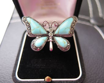 Vintage Butterfly Ring In Turquoise, Marcasite And Silver Ring Size L US Size 5.75