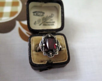 Art Deco Ring Statement Ring Sterling Silver With Red Stone And Marcasite Size M US 6 1/2