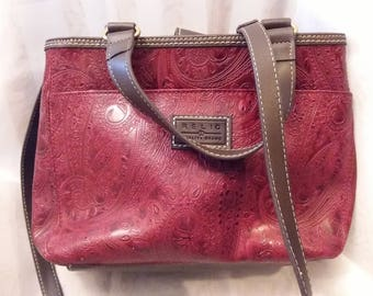 Vintage Tooled Leather Shoulder/Tote Bag by Relic