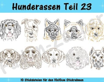 Dog breeds section 23 - embroidery-set for the border 10x10cm