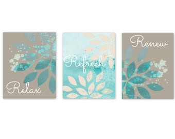 Aqua Wall Decor bathroom wall decor | etsy