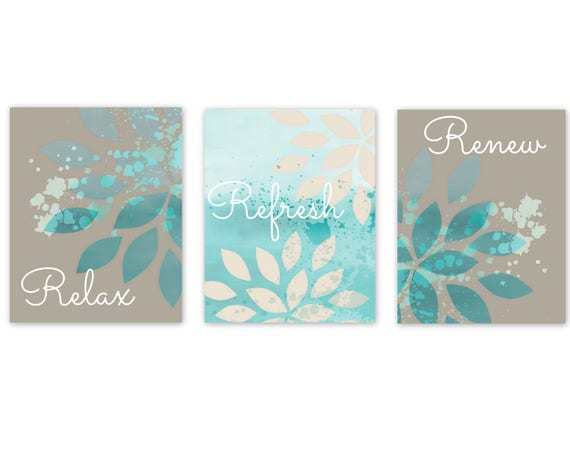 Bathroom wall decor taupe teal bathroom decor turquoise for Teal and gray bathroom accessories