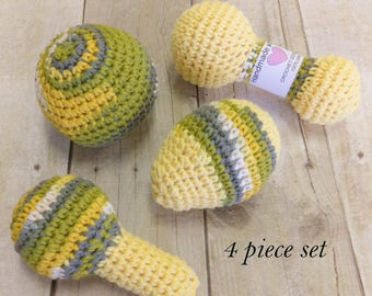 Baby rattle set, set of 4 crocheted baby rattles, 100% cotton rattles, cotton baby toy, natural baby toy, crochet toy, crochet rattle