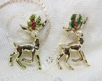 "Rhinestone Christmas Reindeer Brooches Pins - Signed - ""Gerrys"""