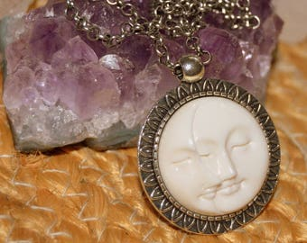 Carved Moon Face Celestial Necklace, Carved Bison Bone Cabochon, Gift for Her.