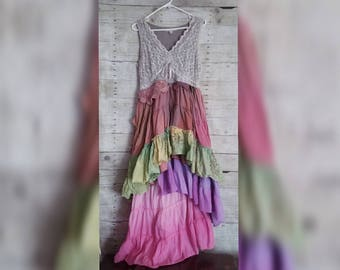 Pink Sunshine Shabby watercolor n lace rainbow cowgirl art layered lace prairie gypsy floral ruffle rustic Boho maxi dress