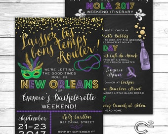 Let the Good Times Roll New Orleans Bachelorette Invitation With Itinerary