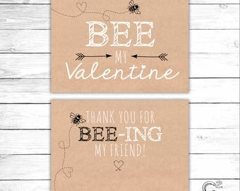 INSTANT DOWNLOAD: Bee-Mine Valentine's Day Card