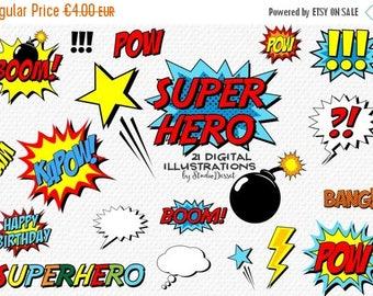 80% OFF - LIMITED TIME - Superhero Cliparts, Comics Clip Art Super Hero,  Speech Bubble, Birthday, Retro Comic Clipart, Hero Illustrations,