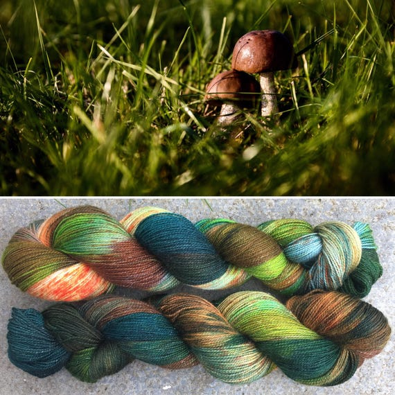 Autumn is Coming Gold Sparkle Sock, indie dyed merino nylon yarn in speckled fall greens