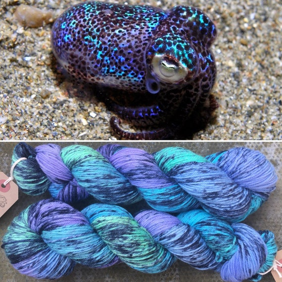 Firefly Squid DK, speckled cephalopod theme indie dyed merino nylon sock yarn