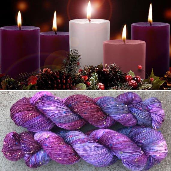 Advent Multicolour Donegal Sock, purple merino yarn with rainbow neps