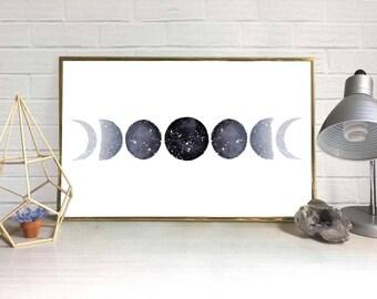Moon Phase Watercolor Print (Black)