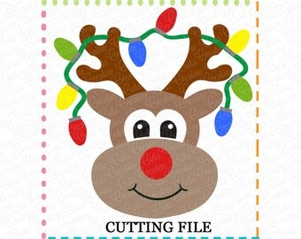 EXCLUSIVE SVG Reindeer Lights Cutting File, Reindeer cut file, reindeer cutting file, reindeer svg, rudolph svg, LIMITED commercial use