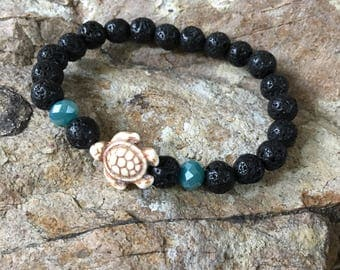 turtle bracelet black lava stone Beaded bracelet oil diffuser women's bracelet Bohemian mens bracelet white turtle aqua faceted glass beads