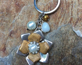 key chain bobble keychain Silver, gold, sparkly rhinestone and glass pearl flower Key ring key chain bohemian car accessories gift