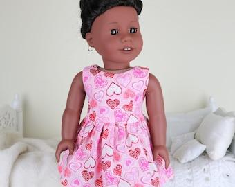 18 inch doll valentine dress | pink & red hearts print dress