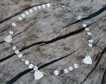 Silver Triple Heart Coin Chain Layering Necklace *Dainty Boho Festival*