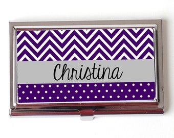 Personalized Business Card Case - Purple chevron Business Card Case - Personalized Business Card Case