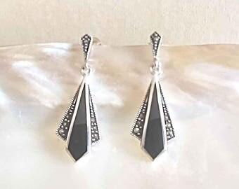 Marcasite Earrings, Art Deco Drop Earrings, Sterling Silver Earrings, UK Seller, Black Onyx Marcasite Jewellery, Marcasite Jewelry,