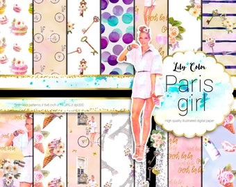 Sweet Paris girl paper Paris themed graphics For planners scrapbooking,  invitations and more 14 sheets  300 ppi