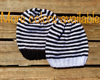 Striped Baby Hat, newborn to 3 month, baby shower gift