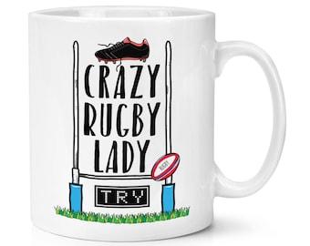 Crazy Rugby Lady 10oz Mug Cup