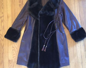 1960s faux fur and leather burgundy coat