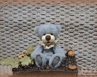 VENDU *** !! Vicktor ours d'artiste de collection 15cm ours décoration alpaga laine feutrée OOAK peluche unique