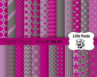 60% OFF SALE Eggplant, Grey and Lily Digital Paper - Digital Scrapbooking  - Instant Download - D244