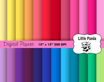 70% OFF SALE Rainbow Solids Digital Scrapbooking Papers 24 jpg files 12 x 12 - Instant Download - D191