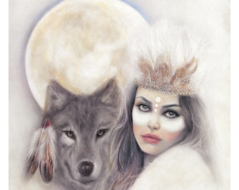 MILA and THE WOLF Giclee Art Print