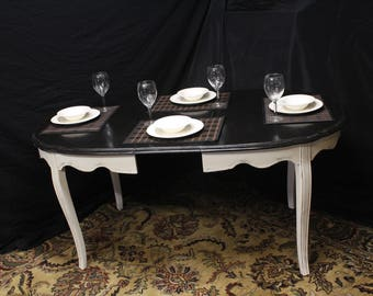 Ebony and Country White French Country Dining Table