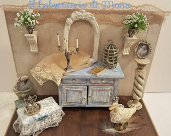 Dresser miniature, powder blue, with small antique valenciennes lace bench, Shabby chic style, laboratorio di Manu, dolls house