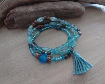 Blue boho elastic bracelet trio