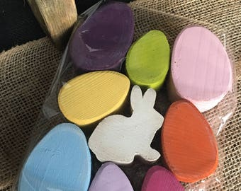 Easter / Spring set of 8 wooden Easter eggs and bunny