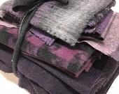 Wool coating destash scrap pack | 2 yards assorted wool pieces | menswear plaid boucle plum purple gray charcoal black | quilt fat quarter
