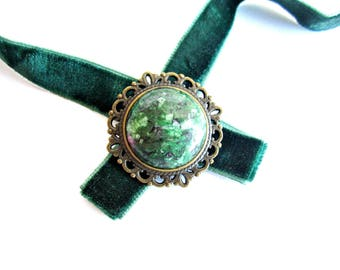 Velvet choker ruby zoisite necklace gemstone medallion choker necklace green velvet choker necklace victorian necklace italian jewelry