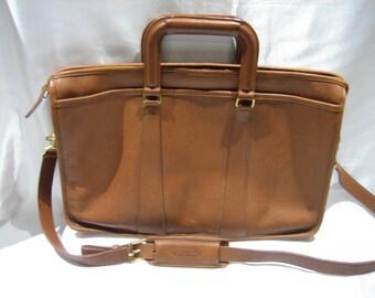 Vintage Coach 5282 Embassy British Tan Leather Business Briefcase Attache