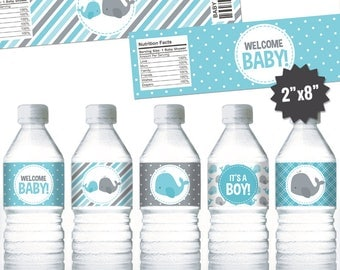 Whale Water Bottle Labels. Boy Baby Shower Bottle Labels. Printable Wrappers. DIY Wraps. Blue and Grey Whale Baby Shower Labels
