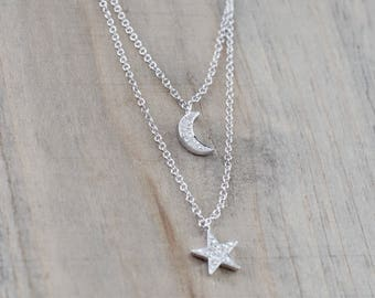 "14k White Gold Double Chain Moon and Star Micro Pave Diamond Necklace 16"" 17"" 18"" Chain"