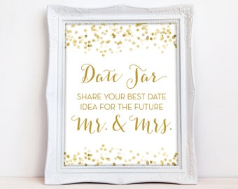 Date Jar Sign Downloadable, Share Your Best Date Idea for the Future Mr and Mrs 8x10 INSTANT DOWNLOAD, Date Night Ideas Sign, The Giselle